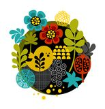 Colorful label with birds and flowers. Vector female illustration Royalty Free Stock Images
