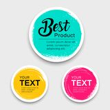 Colorful label paper circle brush stroke style collections. Vector illustration royalty free illustration