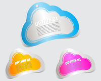 Colorful label paper cloud brush stroke Stock Images