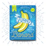 Colorful Label poster stickers food fruits vegetable chalk sketch style, food and spices. Banana. Bio eco vegetarian raw farm fresh organic. Hand drawn vector Royalty Free Stock Images