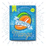 Colorful Label poster stickers food fruits vegetable chalk sketch style, food and spices. Mango ripe. Bio eco vegetarian raw farm fresh organic. Hand drawn Royalty Free Stock Images