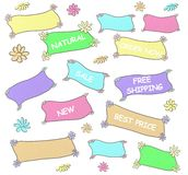 Colorful labels. Hand drawn colorful shop labels royalty free illustration