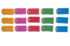 Colorful labels. In orange, pink, red, green and blue on a white background Stock Images