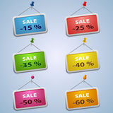 Colorful labels with pins sale discount template. Vector eps 10 Royalty Free Stock Images