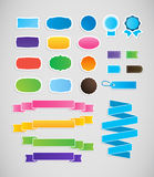 Colorful labels and ribbons, tags. Stock Photo