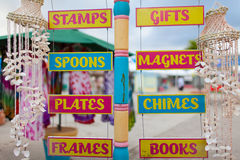 Colorful labels of souvenirs' shops Stock Photo