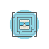 Colorful labyrinth with geek. Inside icon. Vector creative maze sign vector illustration