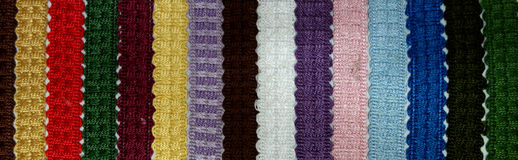Colorful Lace Ribbon Samples Royalty Free Stock Image
