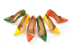 Colorful ladies shoes on white background Stock Photography