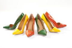 Colorful ladies shoes on white background Stock Photo
