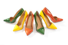 Colorful ladies shoes on white background Royalty Free Stock Photo