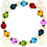 Colorful Ladybirds round frame Royalty Free Stock Photos