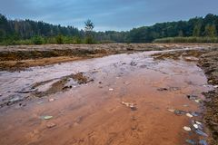 Colorful lake in the former open-cast mine Royalty Free Stock Image