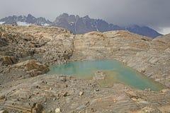 Colorful Lake on a Glacial Nunatak Stock Images