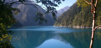 Colorful lake in Jiuzhai Valley Stock Photos