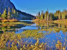 COLORFUL LAKE AND LANDSCAPE IN MAMMOTH LAKES AREA Royalty Free Stock Photos