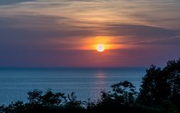 Colorful Lake Michigan Sunset on the water Royalty Free Stock Image