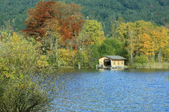 Colorful lake shore schliersee in autumn Stock Photo