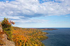 Colorful Lake Superior Shoreline with Dramatic Sky Royalty Free Stock Photo