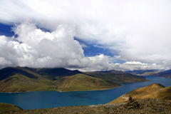 Colorful Lake Yamdrok. This is a picture of the Lake Yamdrok, one of the three sacred basins of Tibet Stock Photography