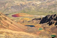 Colorful Lakes in the Bolivian Andes Mountains Royalty Free Stock Images