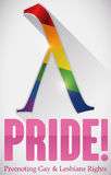 Colorful Lambda Symbol and Precepts for Gay Pride Commemoration, Vector Illustration Stock Photography