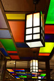Colorful lamp on ceiling, Japanese style Royalty Free Stock Photo