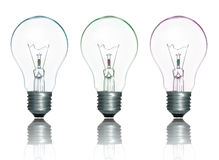 Colorful Lamp Light Bulbs Set Isolate Stock Images