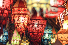 Colorful lamp. A colorful lamp show in an ancient Chinese town Stock Image
