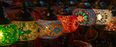 Colorful lamps at the bazaar. royalty free stock image