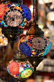 Colorful lamps at the Grand Bazaar in Istanbul. Colorful lamps hanging at the Grand Bazaar in Istanbul Royalty Free Stock Photos