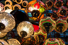 Colorful lamps in Istanbul. Colorful turkish lamps at the Grand Bazaar in Istanbul, Turkey Royalty Free Stock Photography