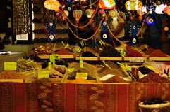 Colorful lamps and spices at bazaar. Colorful display of lamps and spices at bazaar in Turkey Stock Image