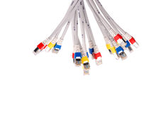 Colorful lan telecommunication cable RJ45 isolated on white back Stock Photography