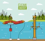 Colorful landscape background wave energy and tidal power. Vector illustration Stock Image