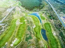 Colorful landscape of countryside with golf fields Stock Photography