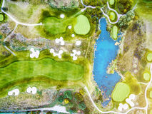 Colorful landscape of countryside with golf fields Stock Photo