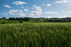 Colorful landscape of countryside in Marche region of Italy stock photos