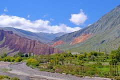 Colorful landscape at the Cuesta De Lipan canyon from Susques to Purmamarca, Jujuy, Argentina. South America stock images
