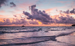 Colorful landscape. Dominican Republic. Colorful coastal landscape. Atlantic Ocean coast at sunset. Bavaro beach, Hispaniola Island. Dominican Republic Stock Image