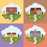 Colorful landscape with group of country houses frames scenes Stock Photos