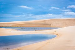 Colorful landscape at Lencois Maranhenses national park, one of the most beuatiful destination in Brazil.  stock photos