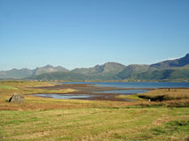 Colorful landscape Lofoten Islands Royalty Free Stock Photography