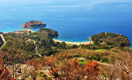 Colorful landscape of Montenegro: Sveti Stefan island Stock Photography