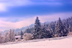Colorful winter landscape in the mountains, Europe travel, beauty world. Colorful winter  landscape in the mountains, Europe travel stock photography