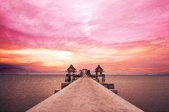 Colorful landscape with pier walk way at Jittapawan temple in Thailand. Colorful landscape with pier walk way at Jittapawan temple. in Thailand stock image