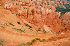 Colorful landscape of rock formations in Bryce Canyon national park. Colorful landscape of red rock formations in Bryce Canyon national park Royalty Free Stock Images