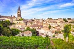 Colorful landscape view of Saint Emilion village in Bordeaux region. France stock photography
