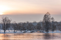 Colorful landscape at the winter sunrise in park Stock Images