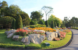 Colorful landscaped formal garden Stock Image